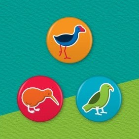 New Zealand Birds 3 Badge Set