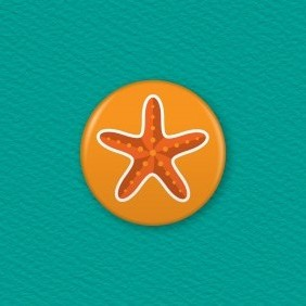 Starfish Button Badge