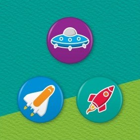 Space Ships 3 Badge Set