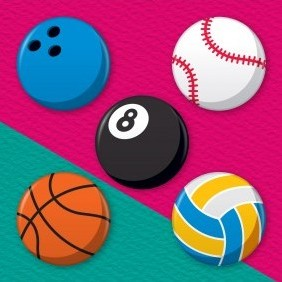 Sports Balls 5 Badge Set