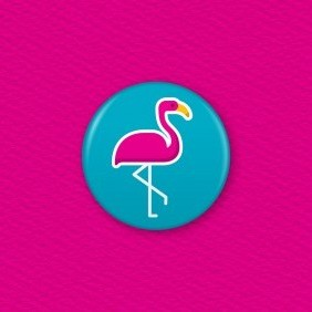 Flamingo Button Badge