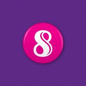 Number 8 Button Badge