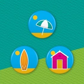 Beach Life 3 Badge Set