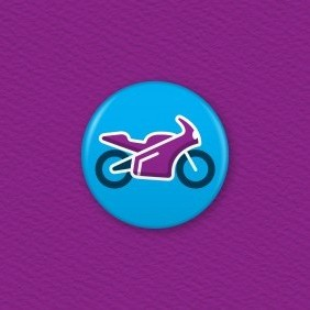 Sports Motorbike Button Badge