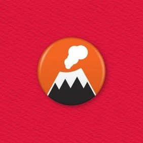 Volcano Button Badge