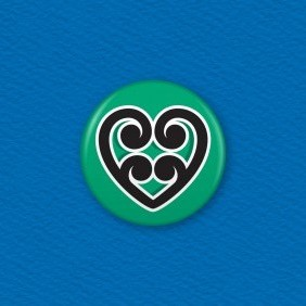 Maori Koru Heart Button Badge
