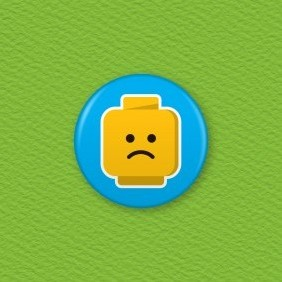 Lego Emoji Face – Sad Button Badge