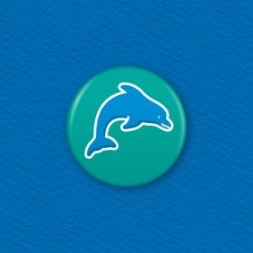 Dolphin Button Badge