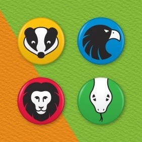 Hogwarts House Animals 4 Badge Set