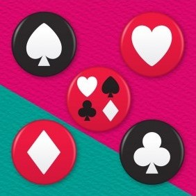 Playing Cards 5 Badge Set