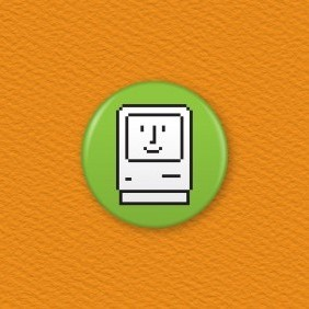 Happy Mac Icon Button Badge