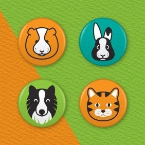 Pet Animals 4 Badge Set