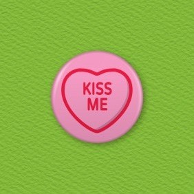 Love Hearts - Kiss Me Button Badge