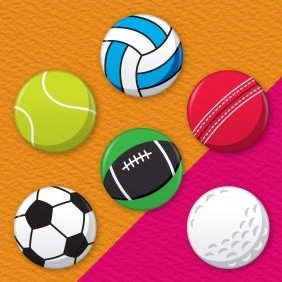 Sports Balls 6 Badge Set