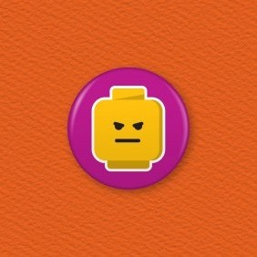 Lego Emoji Face – Angry Button Badge