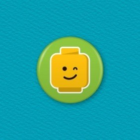 Lego Emoji Face – Wink Button Badge