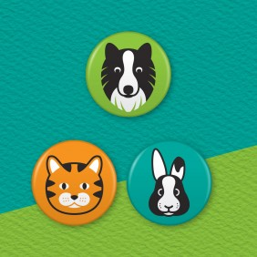 Pet Animals 3 Badge Set