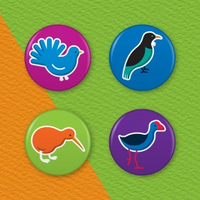 New Zealand Birds 4 Badge Set