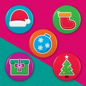 Christmas 5 Badge Set