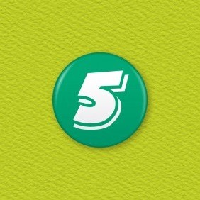 Number 5 Button Badge