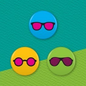 Rose Tinted Glasses 3 Badge Set