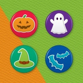 Halloween 4 Badge Set