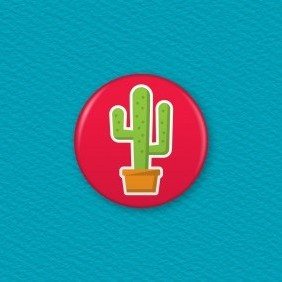 Cactus Button Badge
