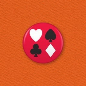 Playing Card Suites Button Badge