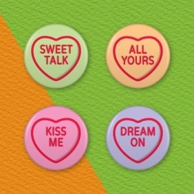 Love Hearts Candy 4 Badge Set