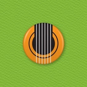 Guitar Button Badge