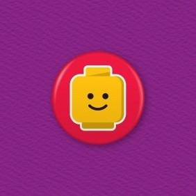Lego Emoji Face – Happy Button Badge