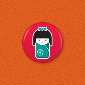 Japanese Doll Button Badge