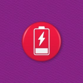 Battery Charger Icon – Empty Button Badge
