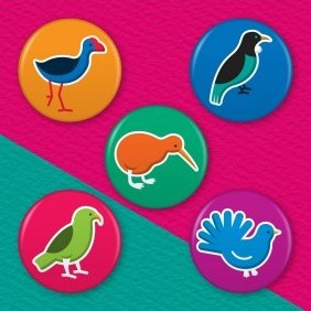 New Zealand Birds 5 Badge Set